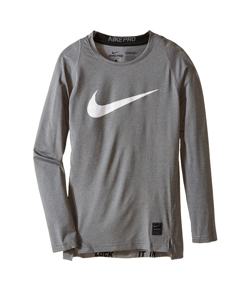 Nike Kids Cool HBR Comp Long Sleeve Little Kids/Big Kids Carbon Heather/Black/White Boys Workout