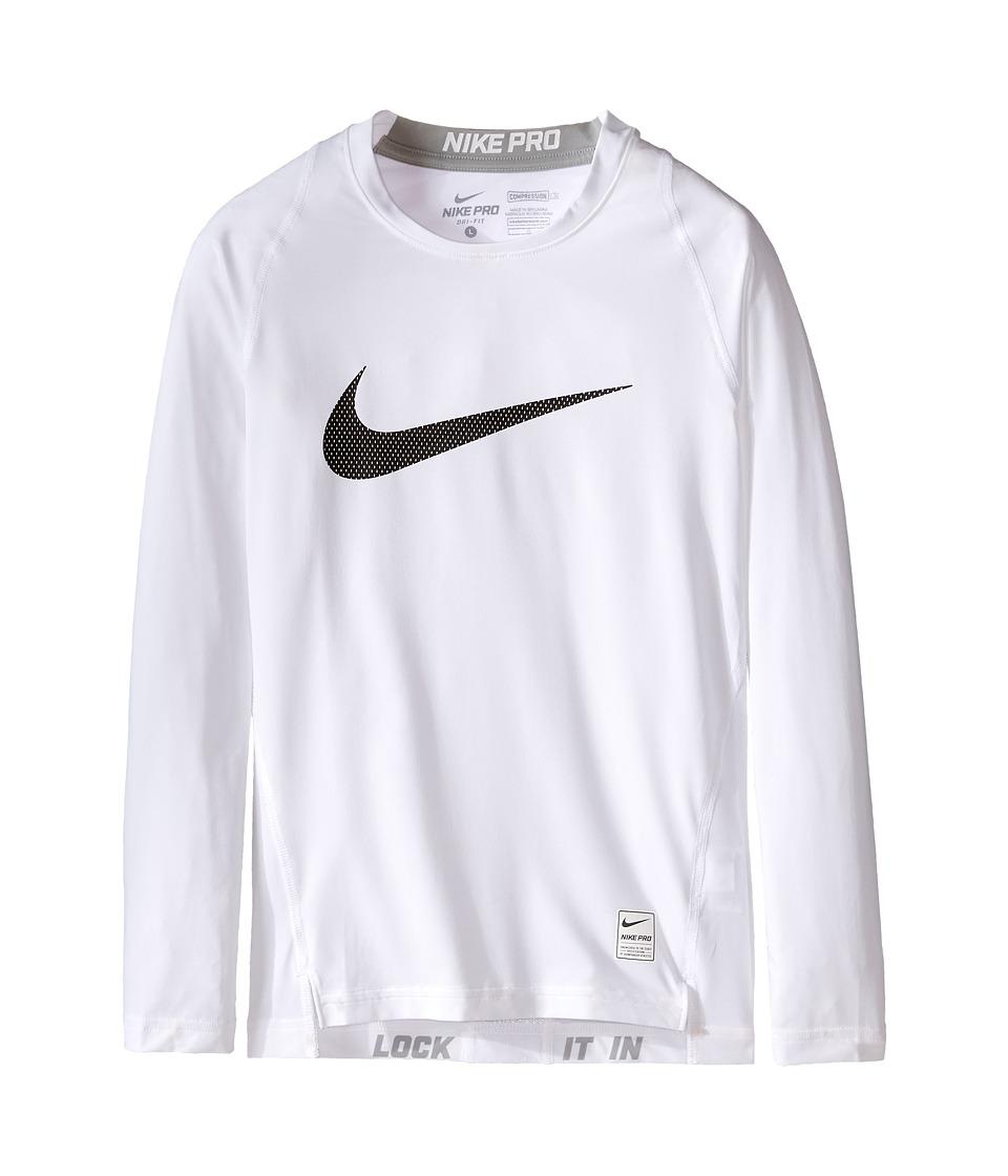 Nike Kids Cool HBR Comp Long Sleeve Little Kids/Big Kids White/Matte Silver/Black Boys Workout