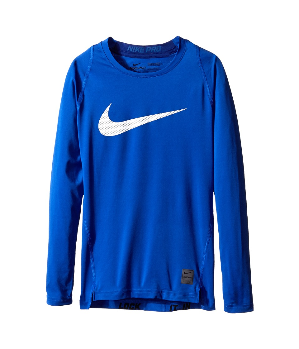 Nike Kids Cool HBR Comp Long Sleeve Little Kids/Big Kids Game Royal/Deep Royal Blue/White Boys Workout