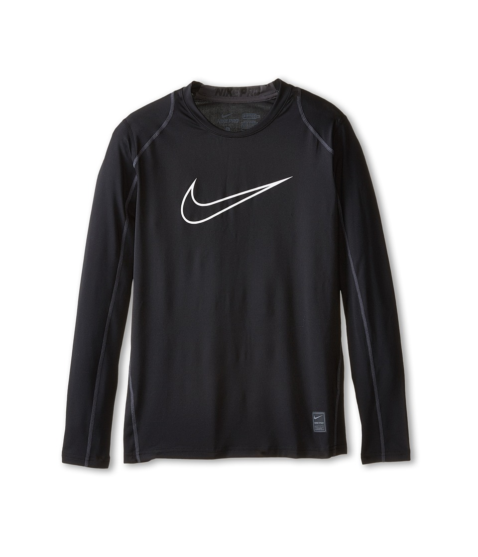 Nike Kids Cool HBR Fitted Long Sleeve Little Kids/Big Kids Black/Anthracite/White Boys Workout