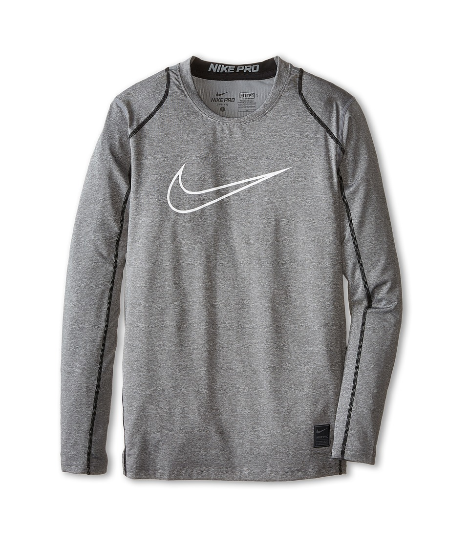 Nike Kids Cool HBR Fitted Long Sleeve Little Kids/Big Kids Carbon Heather/Black/White Boys Workout
