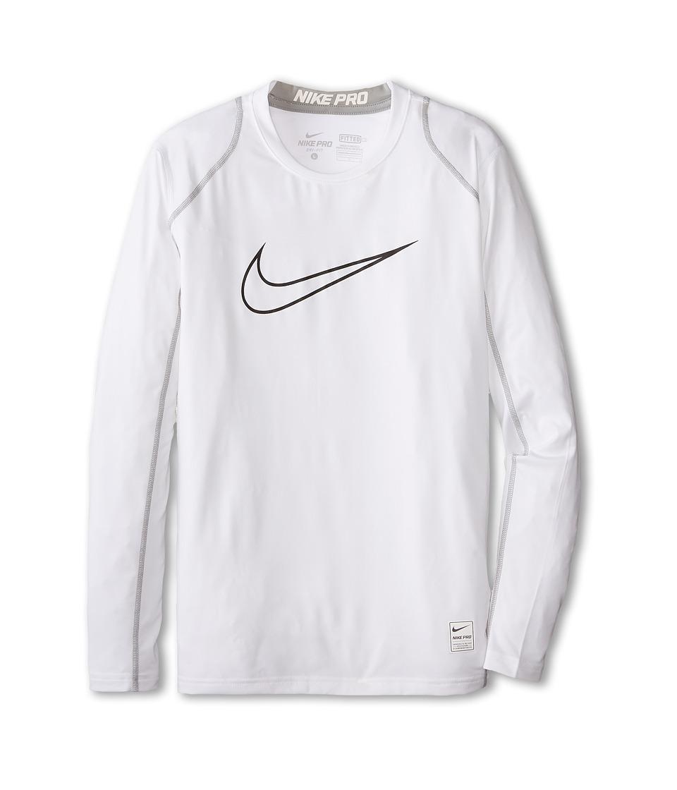 Nike Kids Cool HBR Fitted Long Sleeve Little Kids/Big Kids White/Matte Silver/Black Boys Workout