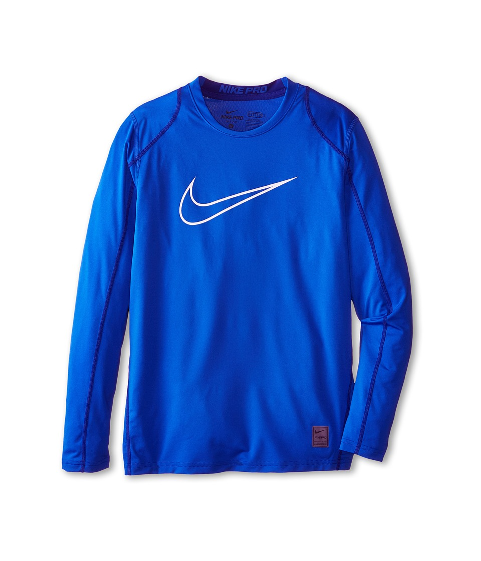 Nike Kids Cool HBR Fitted Long Sleeve Little Kids/Big Kids Game Royal/Deep Royal Blue/White Boys Workout