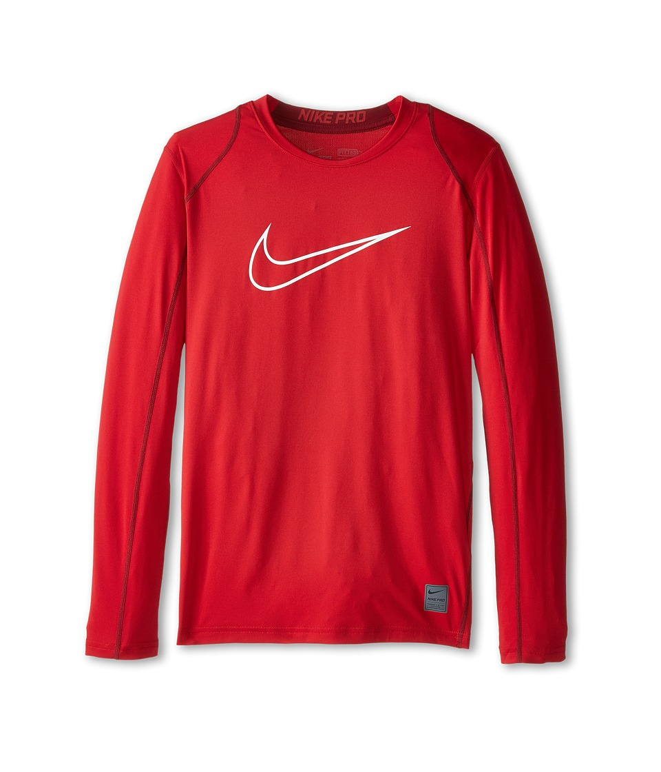 Nike Kids Cool HBR Fitted Long Sleeve Little Kids/Big Kids Gym Red/Team Red/White Boys Workout