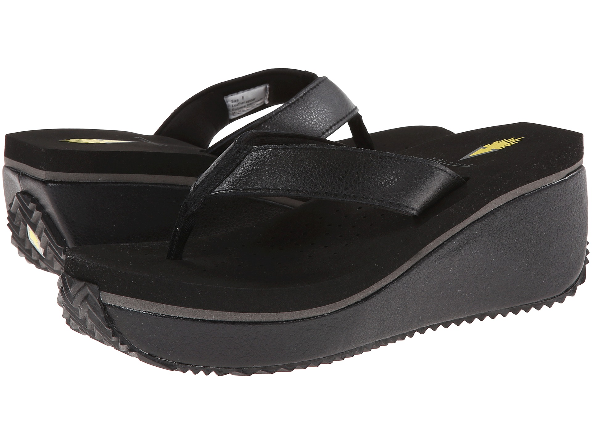 Black volatile sandals