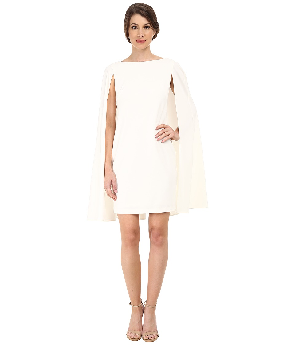 Adrianna Papell - Structured Cape Sheath Dress (Ivory) Womens Dress