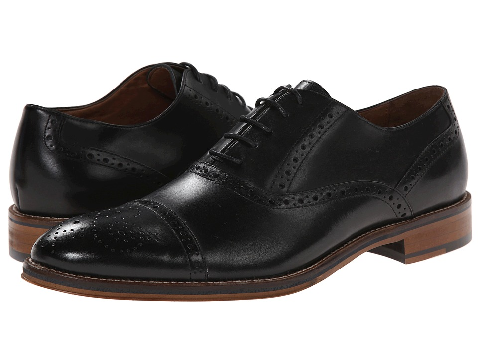 1920s Style Mens Shoes | Peaky Blinders Boots Johnston amp Murphy - Conard Cap Toe Black Italian Calfskin Mens Shoes $158.95 AT vintagedancer.com