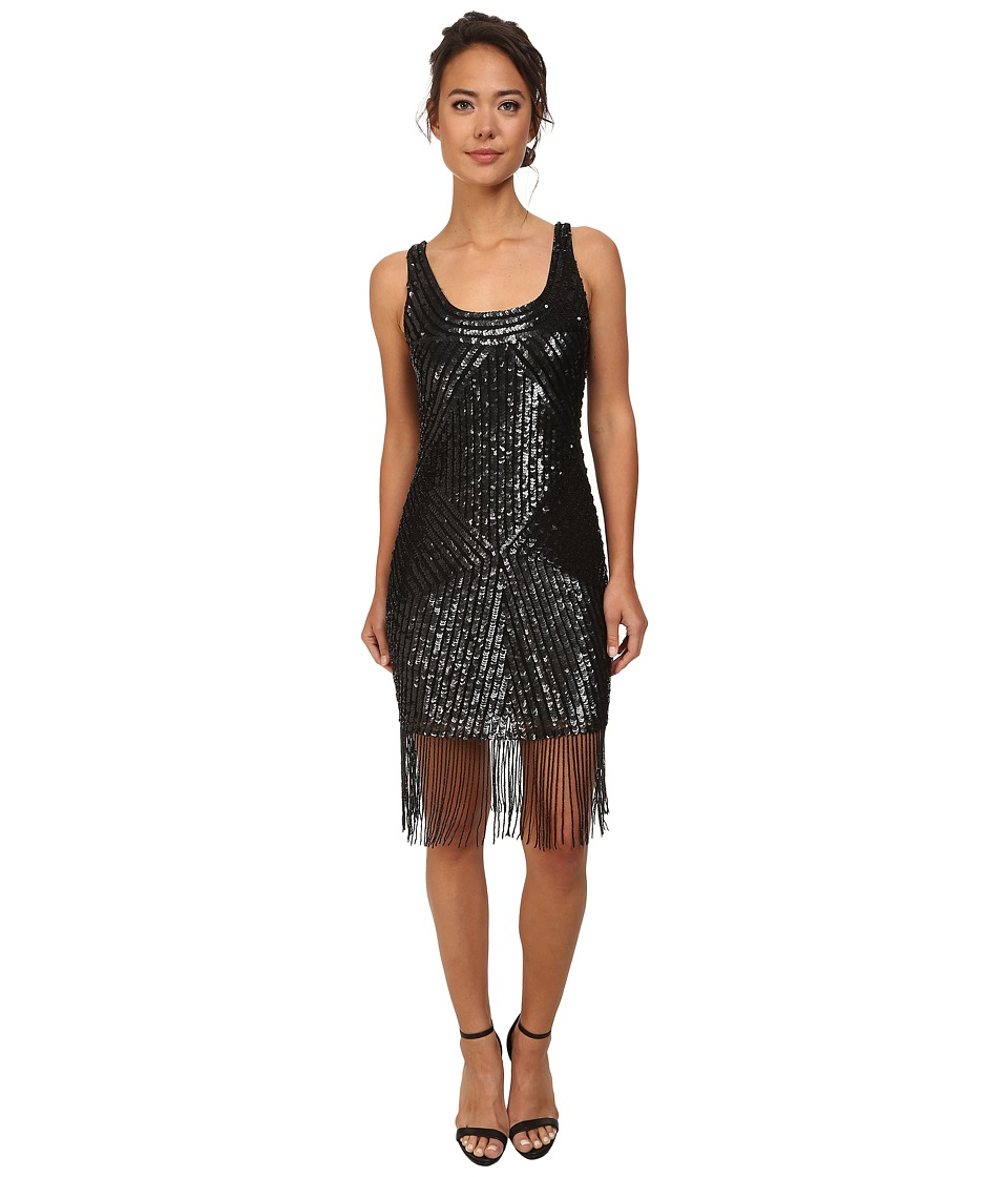 Adrianna Papell - Sleeveless Fully Beaded Cocktail Dress Black Womens Dress $310.00 AT vintagedancer.com
