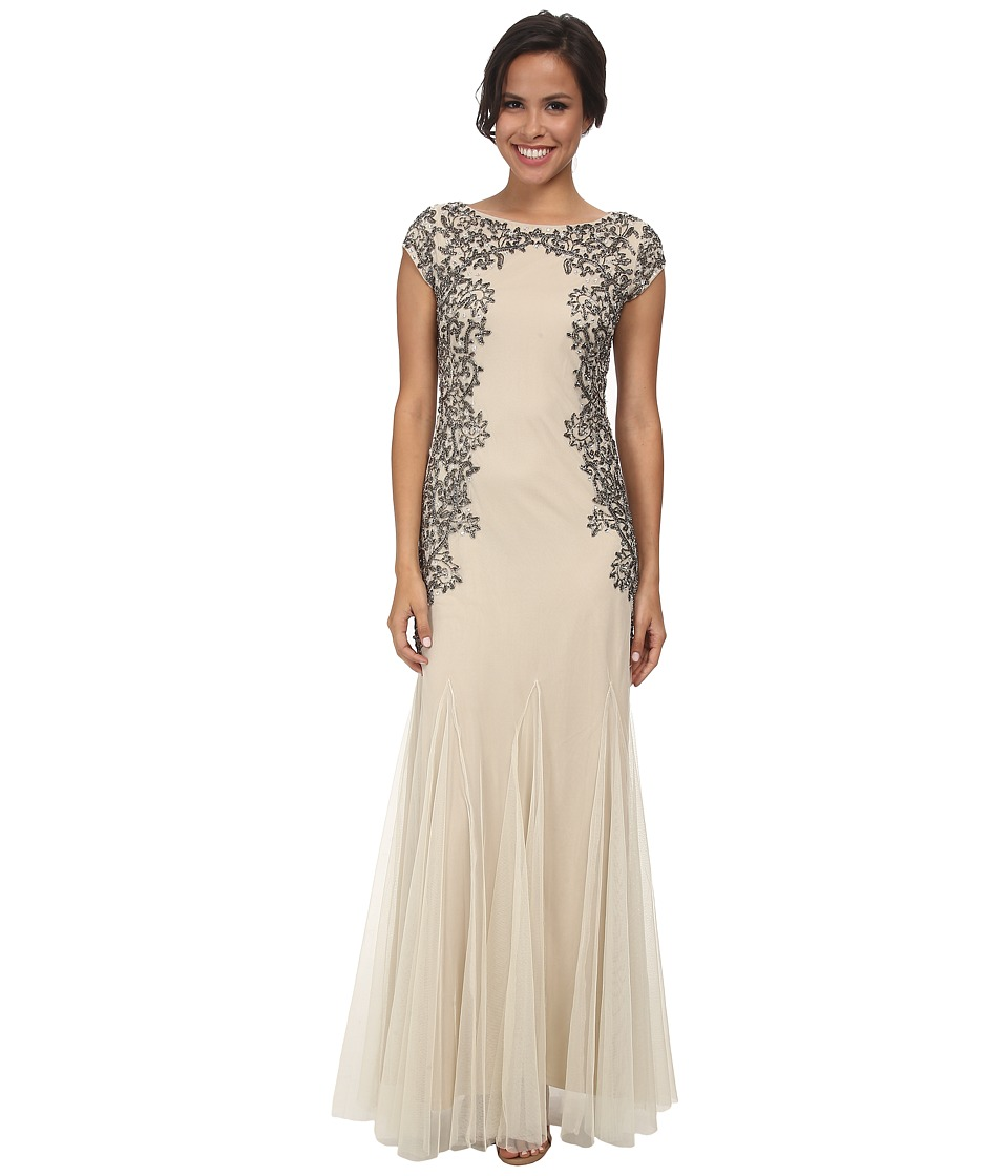 Adrianna Papell - Cap Sleeve Beaded Gown Champagne Womens Dress $360.00 AT vintagedancer.com