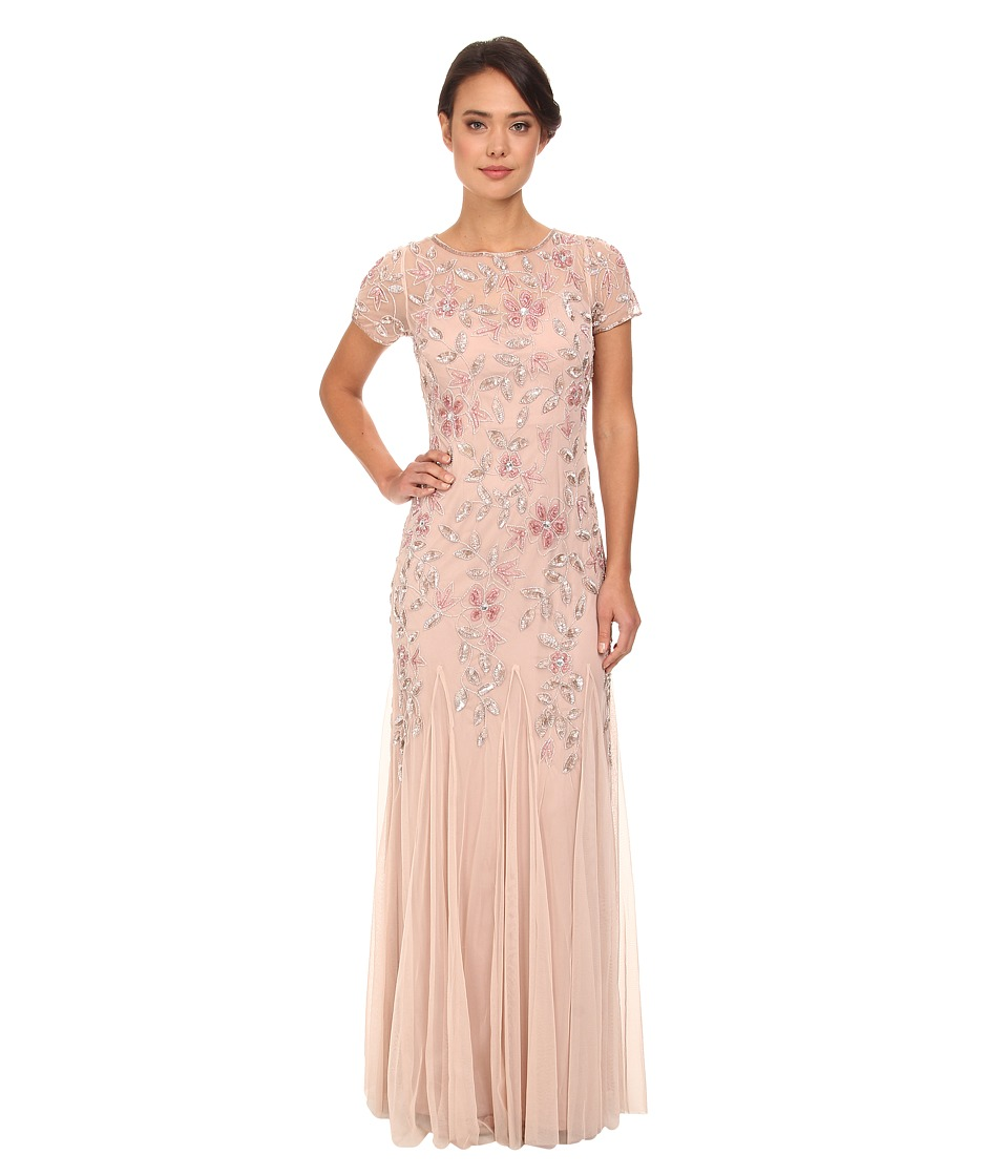 Adrianna Papell Floral Beaded Godet Gown Blush Womens Dress