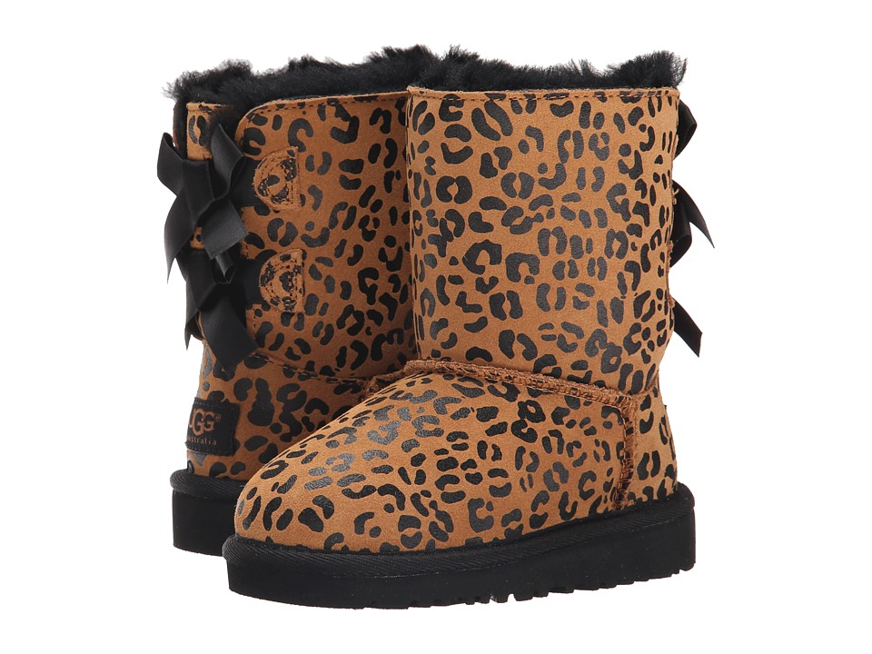 UGG Kids Bailey Bow Leopard (Toddler/Little Kid) (Chestnut) Girls Shoes
