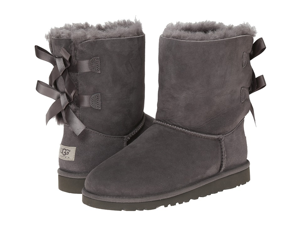 UGG Kids Bailey Bow Big Kid Grey Girls Shoes