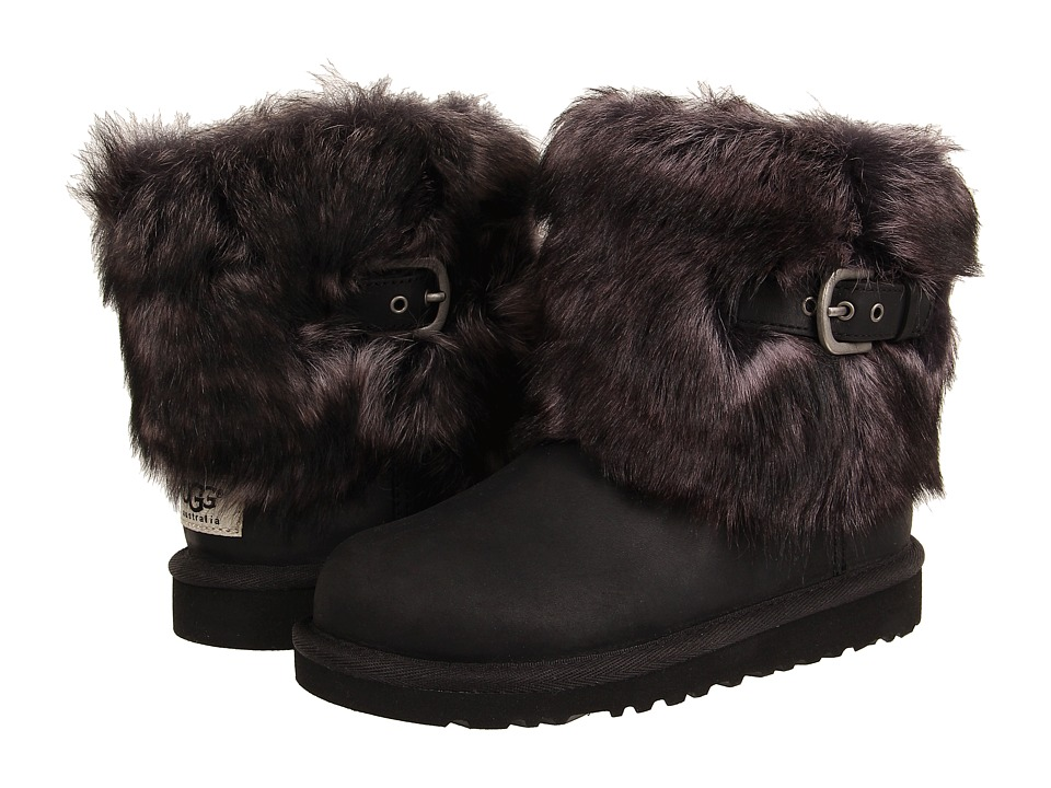 UGG Kids Ellee Leather Toddler/Little Kid/Big Kid Black Girls Shoes