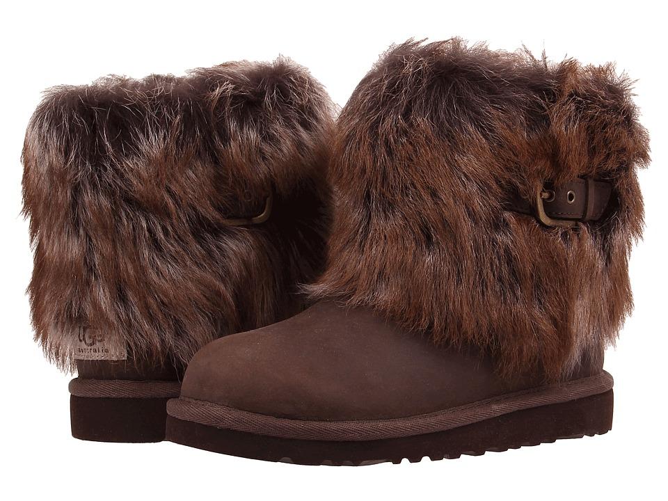 UGG Kids Ellee Leather Toddler/Little Kid/Big Kid Chocolate Girls Shoes