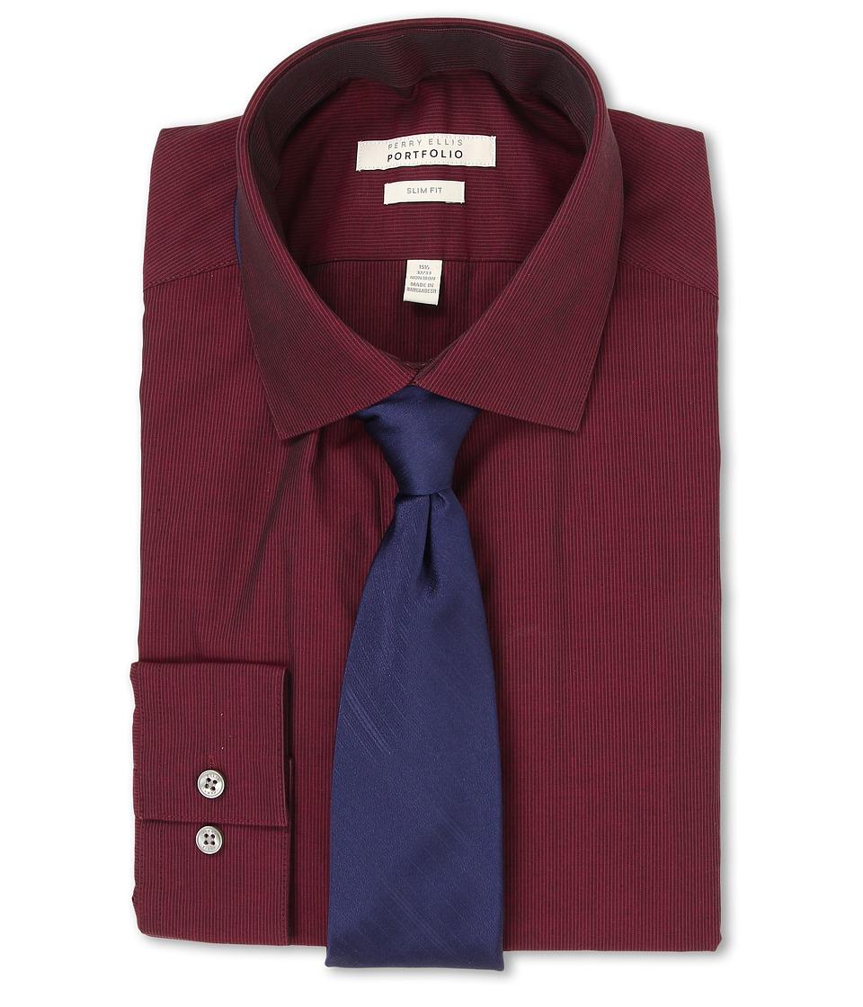 Perry Ellis Slim Fit Tonal Stripe Shirt Burgundy Mens Long Sleeve Button Up