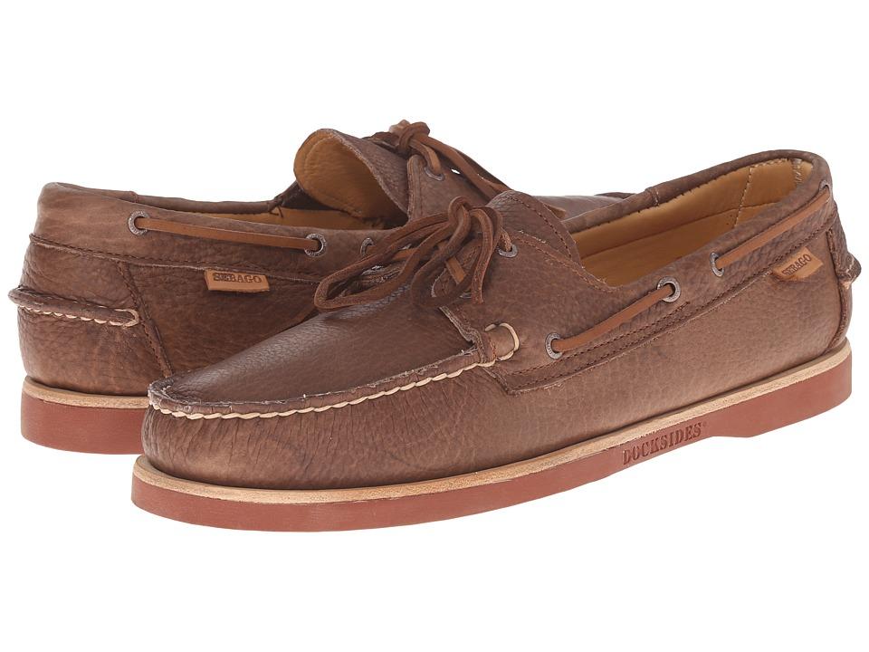 Sebago Crest Dockside Brown Bison Leather Mens Shoes