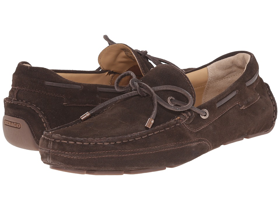 Sebago Kedge Tie Dark Brown Embossed Suede Mens Shoes