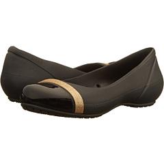Crocs Womens Cap Toe Shimmer Flats (Black)