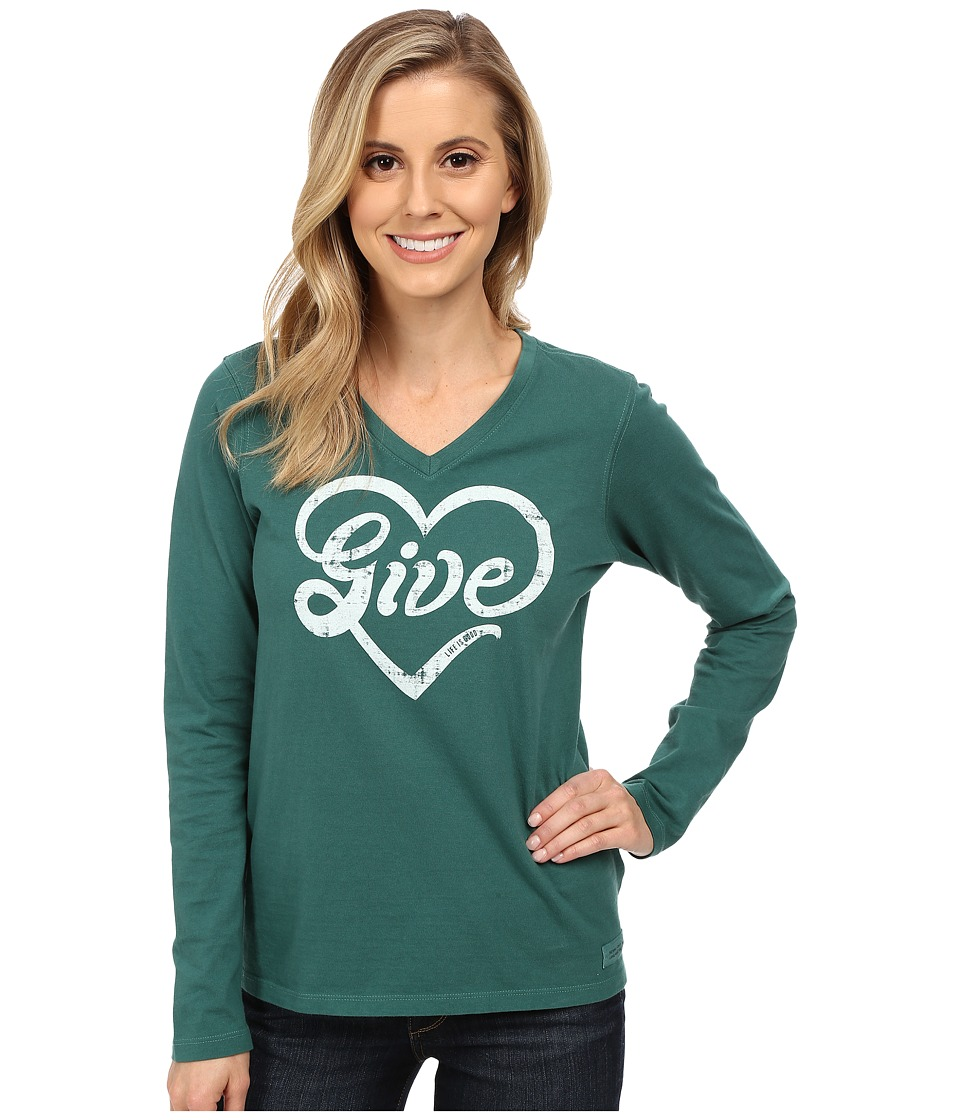 Life is good Crusher Vee Long Sleeve Tee Give Love/Hunter Green Womens Long Sleeve Pullover