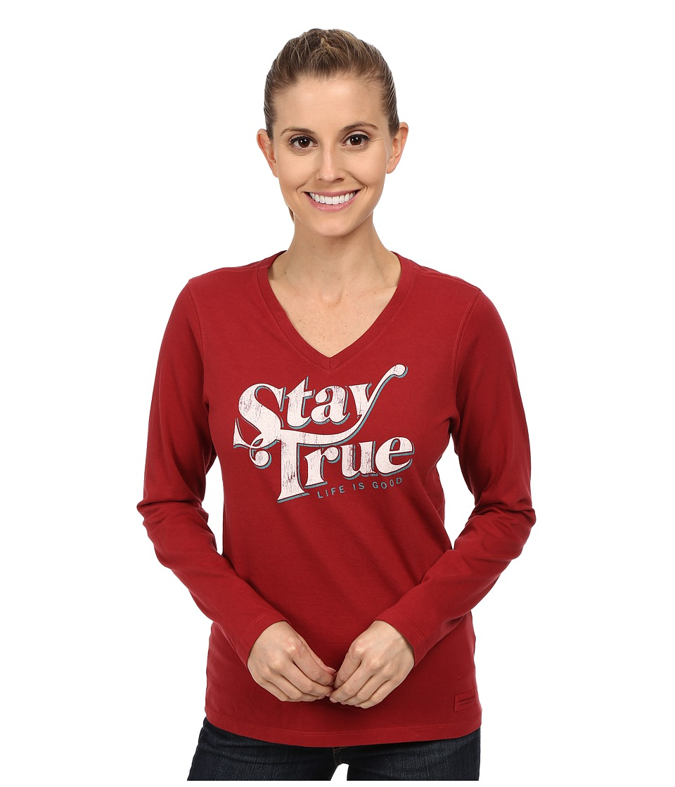 Life is good Crusher Vee Long Sleeve Tee Stay True/Rich Red Womens Long Sleeve Pullover