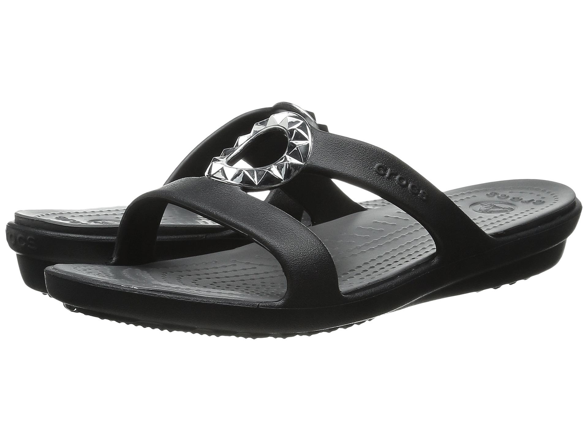 Crocs Sanrah Studded Circle Sandal BlackGraphite Zapposcom Free