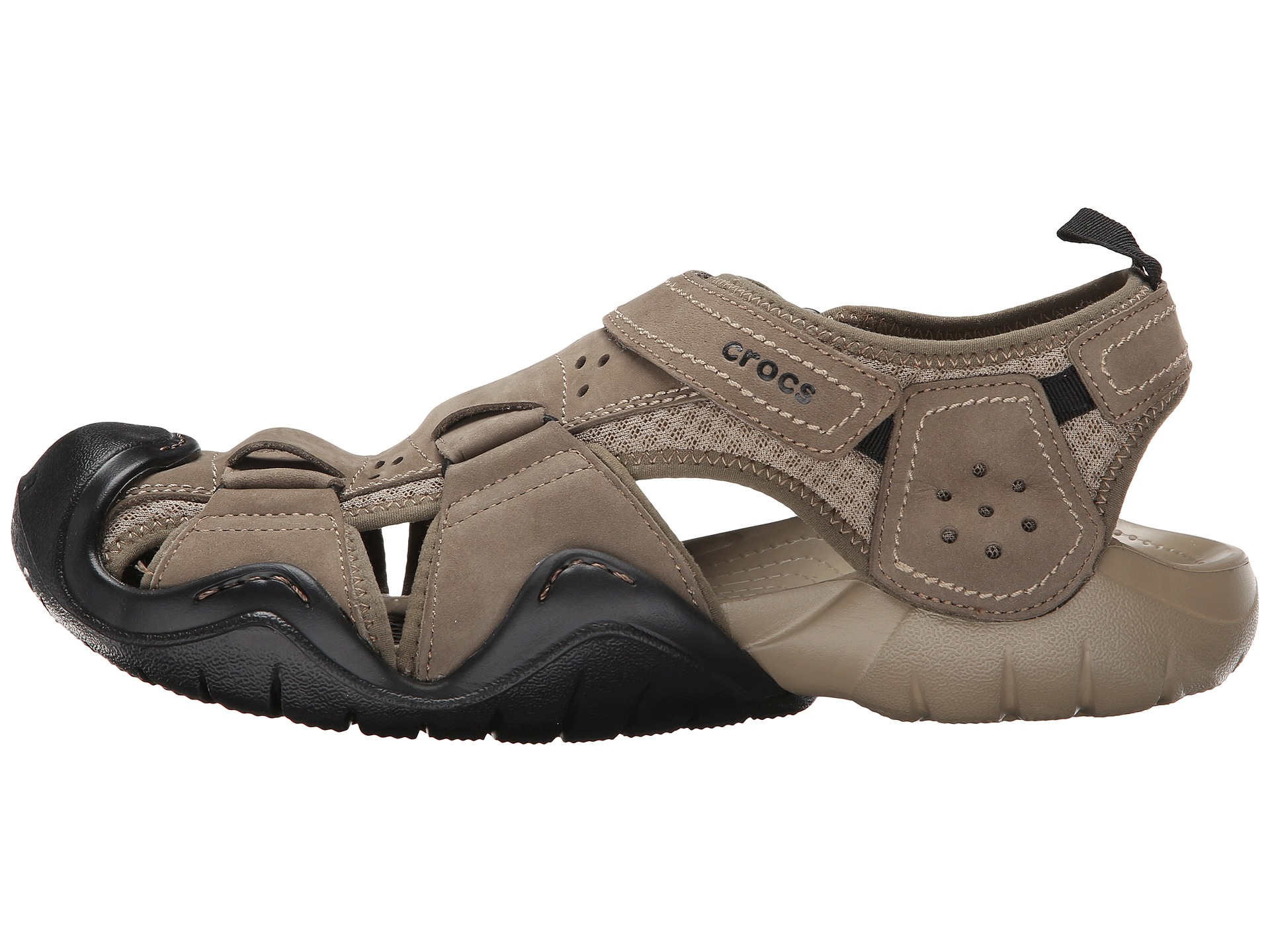 Crocs swiftwater leather fisherman walnut khaki zappos for Crocs fishing shoes