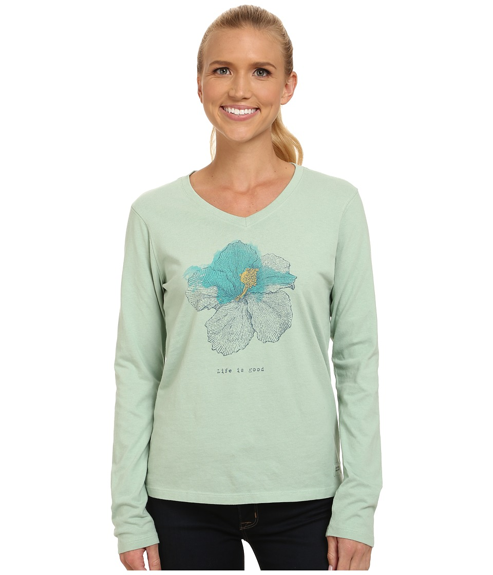 Life is good Crusher Vee Long Sleeve Tee Engraved Hibiscus/Minty Green Womens Long Sleeve Pullover