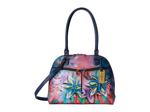 Anuschka Handbags 553 Zip Around Organizer Satchel - Luscious Lilies Denim