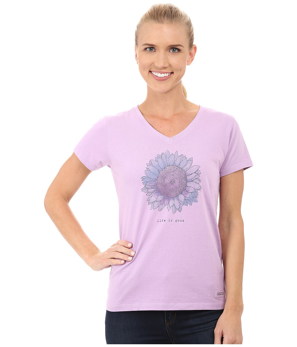 Life is good Crusher Vee Engraved Flower/Icy Lilac Womens T Shirt