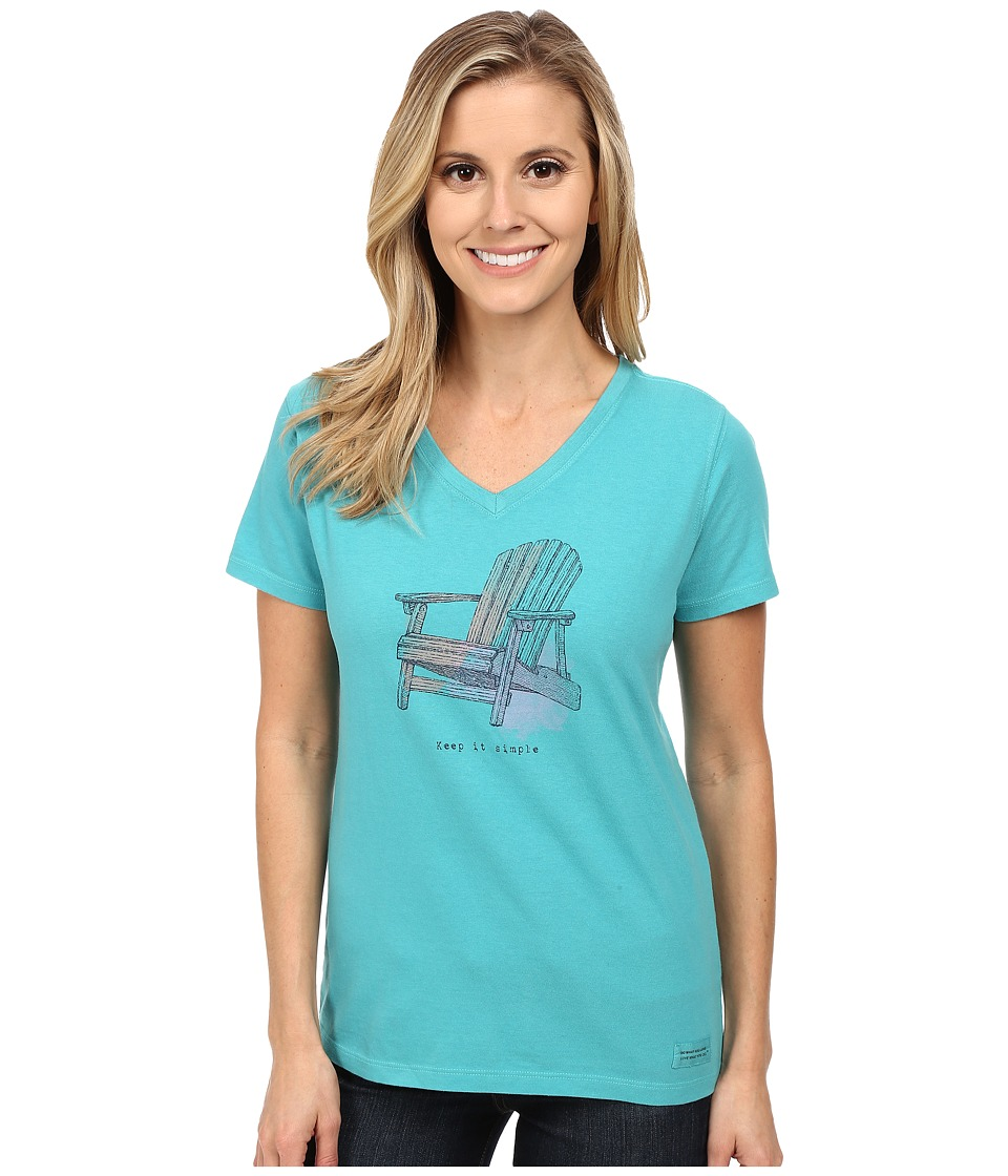 Life is good Crusher Vee Engraved Adirondack/Teal Blue Womens T Shirt