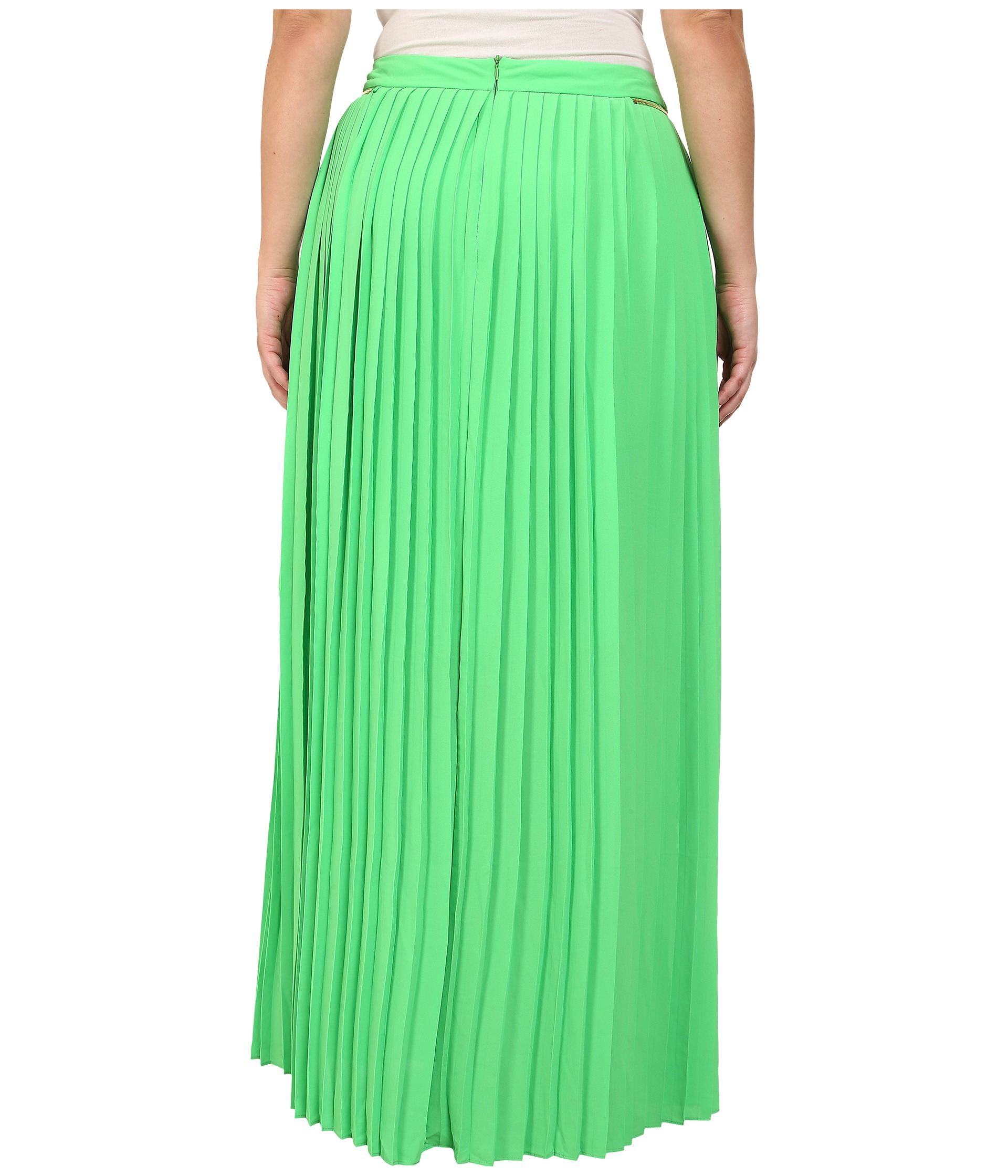 mynt 1792 plus size pleated maxi skirt poison green