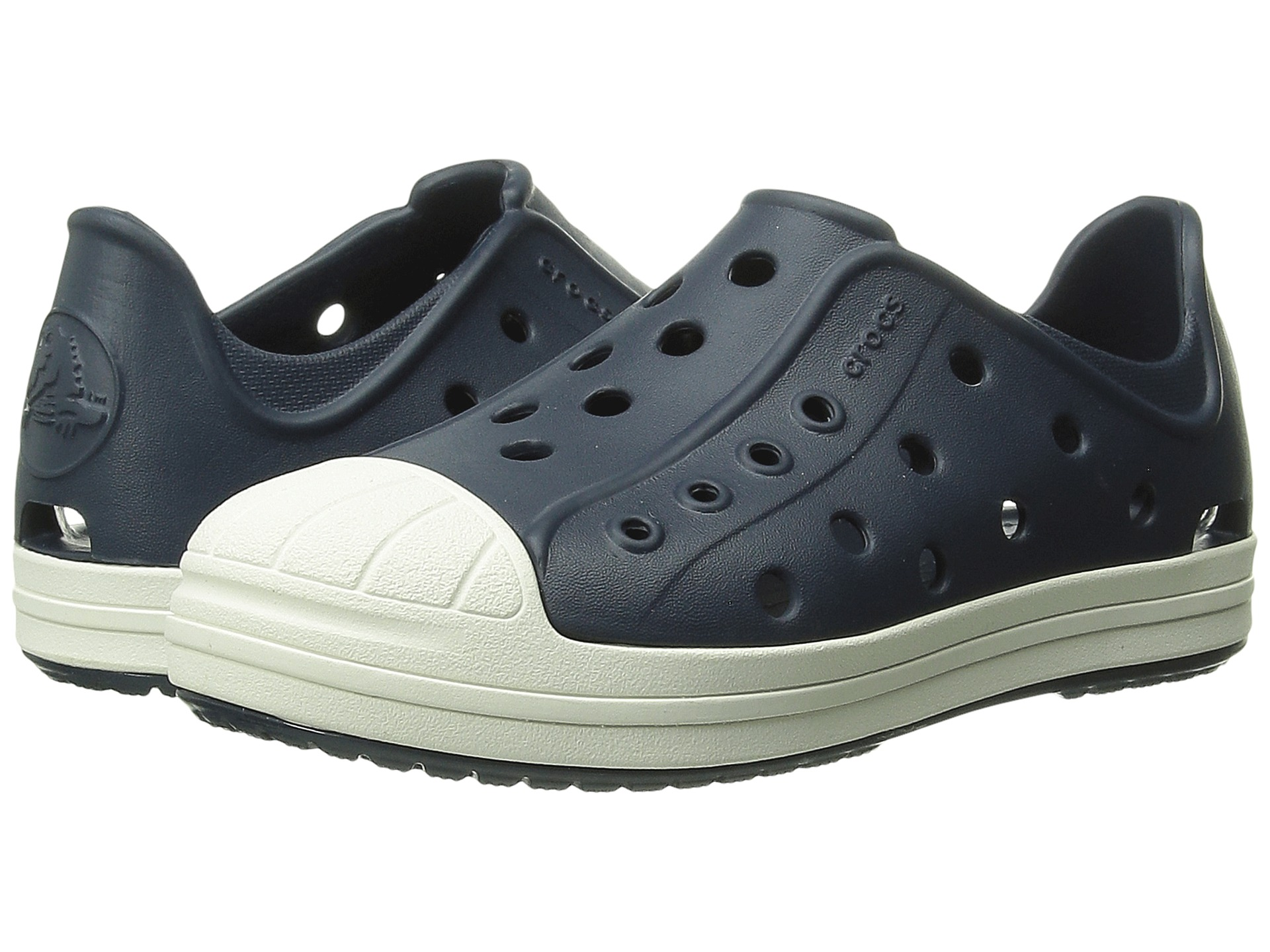 Crocs Kids Bump It Shoe (Toddler/Little Kid) Navy/Oyster - Zappos.com ...
