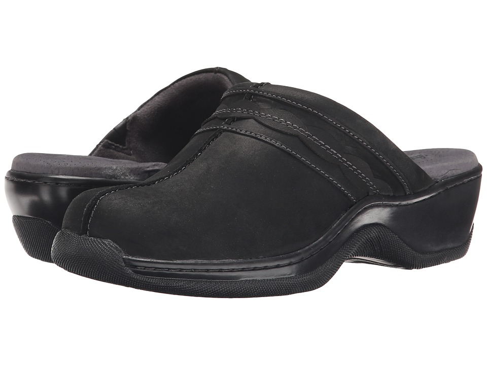 SoftWalk Abby Black Oily Leather Womens Clog/Mule Shoes