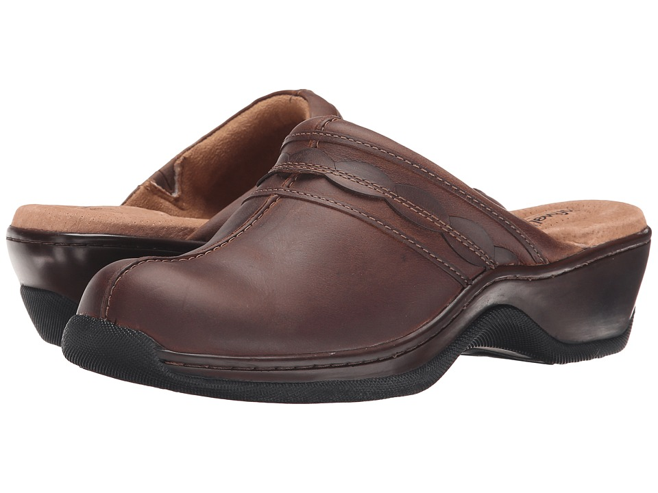SoftWalk Abby (Dark Brown Oily Leather) Women's Clog/Mule Shoes