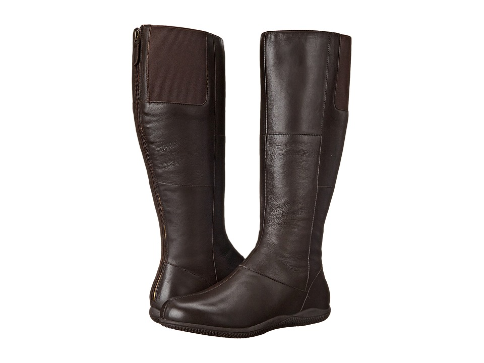 SoftWalk Hollywood Wide Calf Dark Brown Soft Nappa Leather Womens Wide Shaft Boots