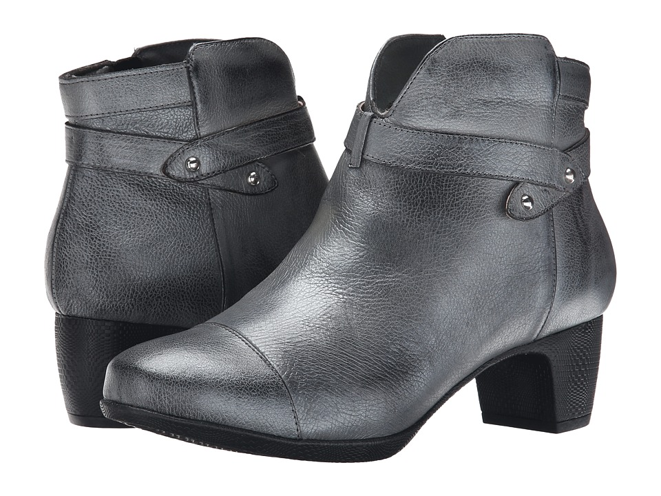 SoftWalk Ivanhoe Pewter Antique Metallic Leather Womens Zip Boots