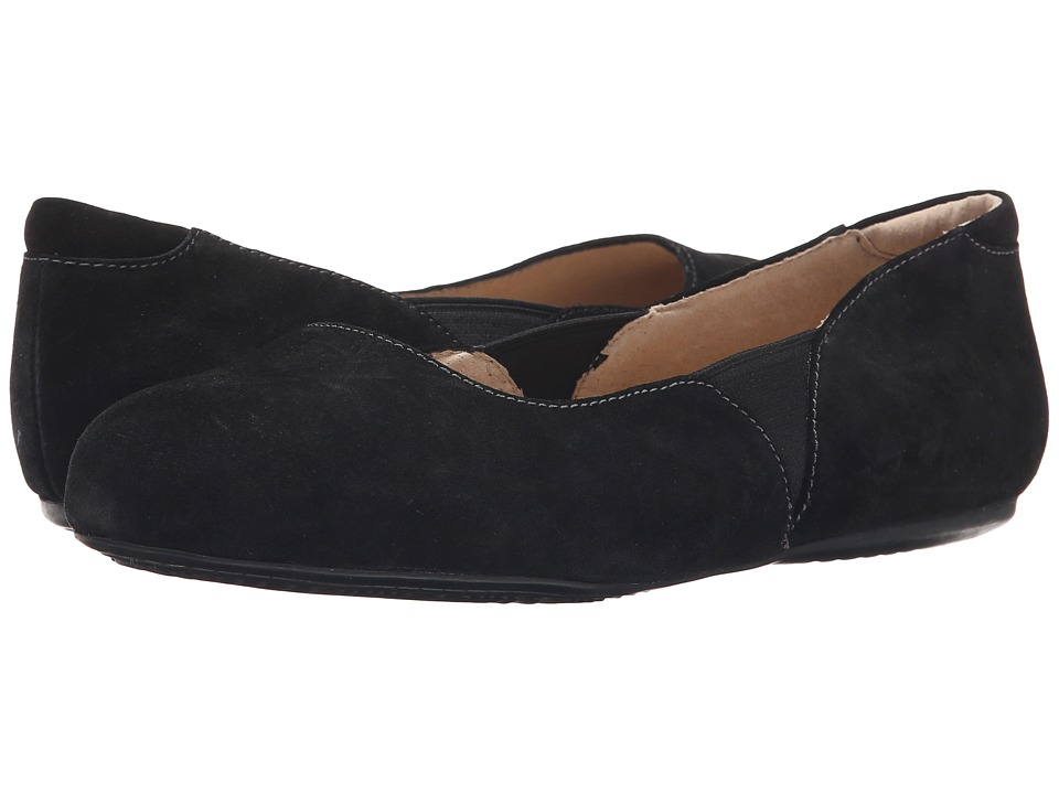 SoftWalk Norwich Black Cow Suede Leather Womens Dress Flat Shoes