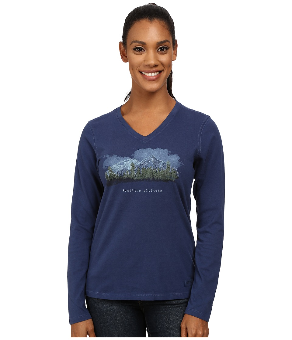 Life is good Crusher Vee Long Sleeve Tee Positive Altitude Mountain/Darkest Blue Womens Long Sleeve Pullover
