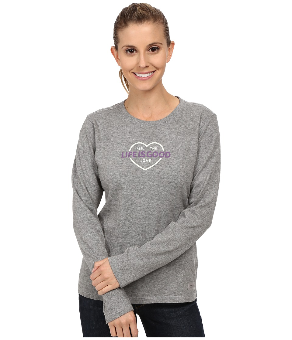 Life is good Crusher L/S Tee Feel The Love/Heather Grey Womens Long Sleeve Pullover