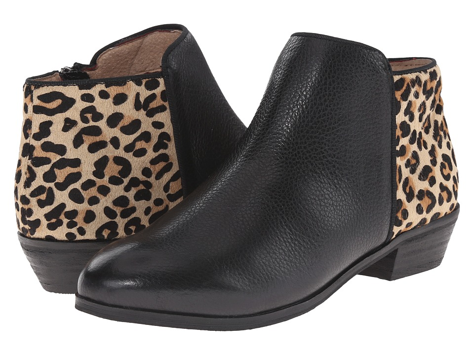 SoftWalk Rocklin Black/Tan Soft Tumbled Leather/Leopard Womens Shoes