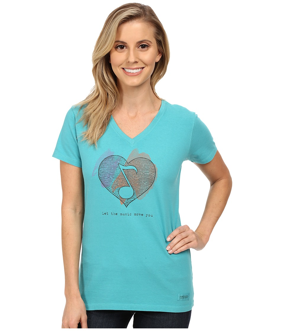 Life is good Crusher Vee Engraved Heart Note/Teal Blue Womens T Shirt