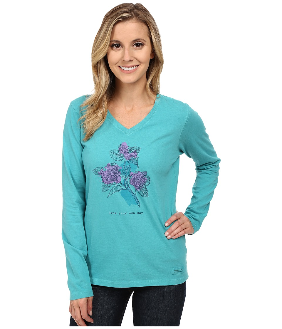 Life is good Crusher Vee Long Sleeve Tee Engraved Grow Roses/Teal Blue Womens Long Sleeve Pullover