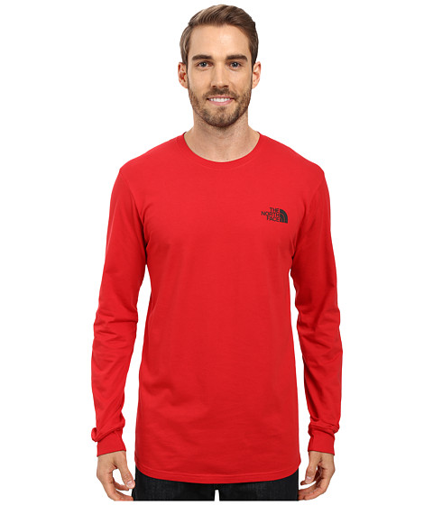 The North Face Long Sleeve Red Box Tee - TNF Red/Asphalt Grey