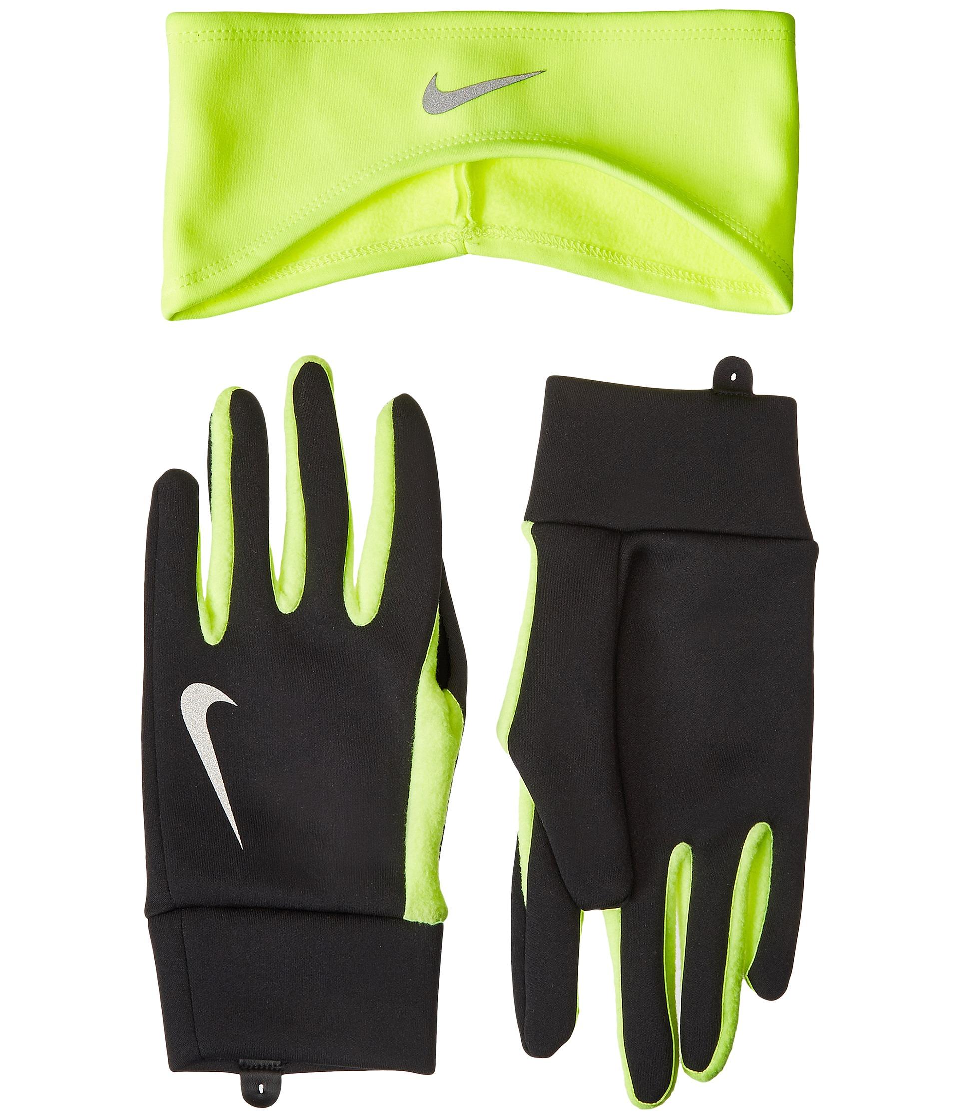 Nike Thermal Gloves: Nike Running Thermal Headband/Glove Set Black/Volt
