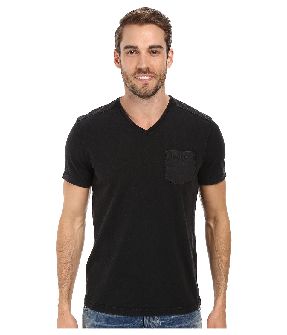 Kenneth Cole Sportswear Acid Washed V Neck Black Mens Short Sleeve Knit