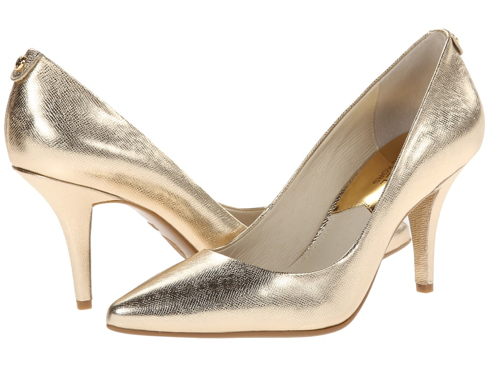 MICHAEL Michael Kors MK Flex Mid Pump (Pale Gold Metallic Saffiano) High Heel Shoes