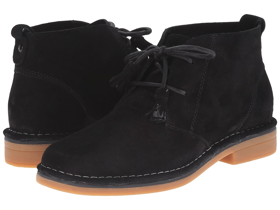 Vintage Style Shoes, Vintage Inspired Shoes Hush Puppies - Cyra Catelyn Black Suede Womens Lace-up Boots $98.95 AT vintagedancer.com