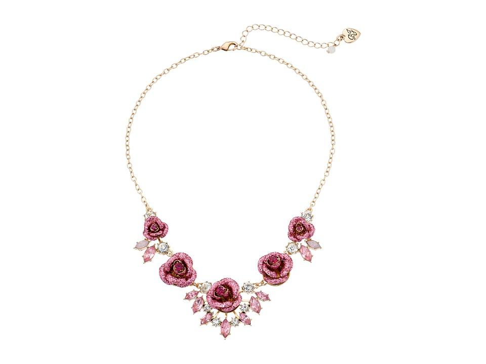 Betsey Johnson - Glitter Rose Necklace Rose (Pink) Necklace