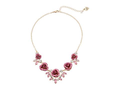 Betsey Johnson Glitter Rose Necklace Rose - Pink