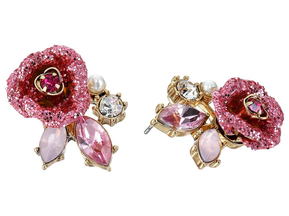 Betsey Johnson - Glitter Rose Stud Earrings (Pink) Earring